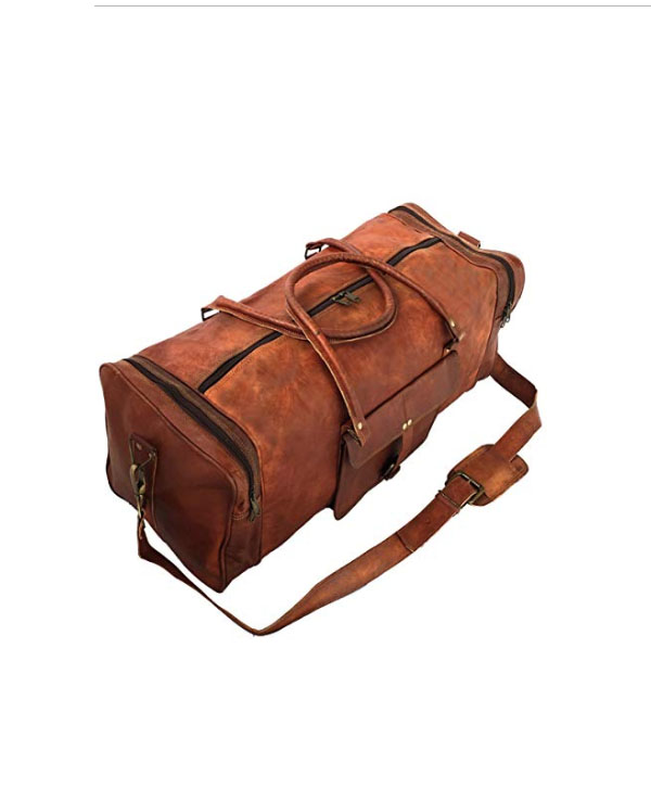 """New 24/"""" Large Men/'s Duffel Bag Travel Gym Squre Overnight Weekend Leather Bag"""